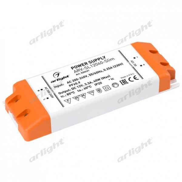Блок питания ARV-SL12040-Slim (12V, 3.3A, 40W, PFC)
