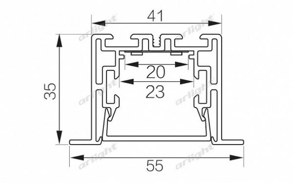 Профиль с экраном S2-LINIA55-F-2500 ANOD+OPAL