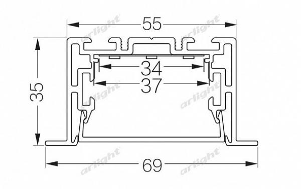 Профиль с экраном S2-LINIA69-F-2500 ANOD+OPAL