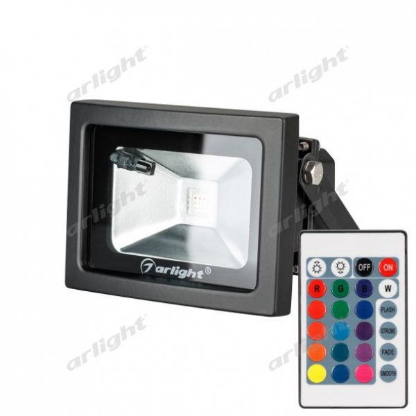 Светодиодный прожектор AR-FLB-10W-220V RGB (IR ПДУ Карта 24кн)