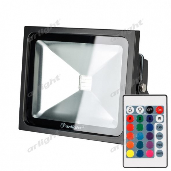 Светодиодный прожектор AR-FLB-30W-220V RGB (IR ПДУ Карта 24кн)