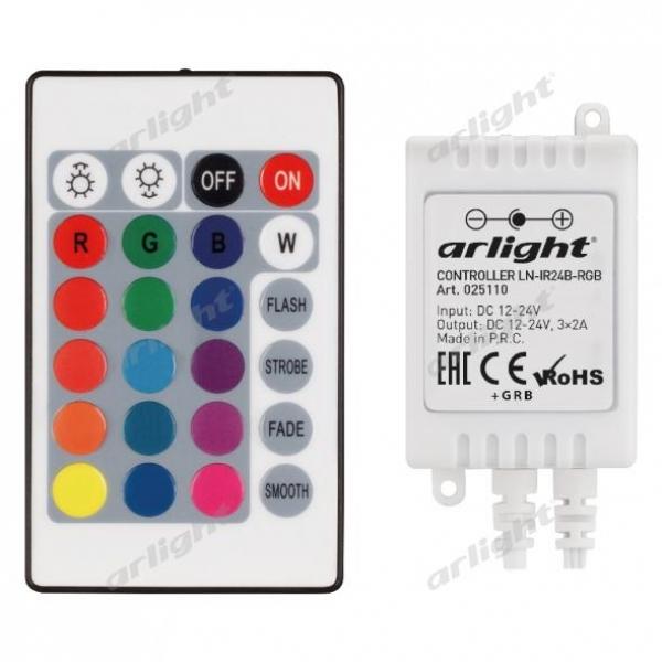 Контроллер LN-IR24B-RGB (12-24V, 3x2A, ПДУ Карта 24 кн)