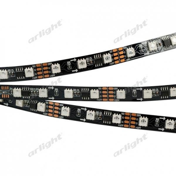Лента SPI-5000-AM 12V RGB (5060,300 LED x3,1804, Black)