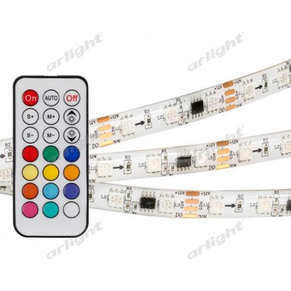 Лента SPI-5000SE-IR21B 12V RGB (5060,300 LED x3,1804, ПДУ)